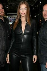 Barbara Real Leather Women Catsuit/jumpsuit And Club Wear With Long Sleeves Zipper