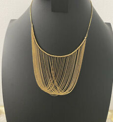 14k Solid Gold Cascading Chain Bib Necklace / Not Scrap / Not 10k Or 18k
