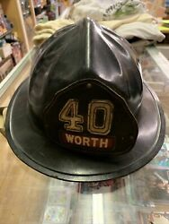Vintage Cairns And Bros Fire Fighter Helmet Black Firefighter Leather Patch Nice