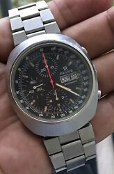 Vintage 1970and039s Revue 7000 Incabloc Chronograph Day Date Valjoux 7750 Watch