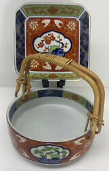 Vintage 1970andrsquos Japanese Kakiemon Style Matching Bowl And Plate Set - Gently Used