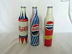 Collectable Lot Of 3 Aluminum Pepsi Theme Bottles These Are Full