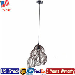 Snail Bamboo Wicker Rattan Shade Pendant Light Fixtures Hanging Ceiling Lamp New