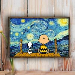 Charlie and Snoopy Starry Night Poster Home Decor Wall Art Poster Wall Decor