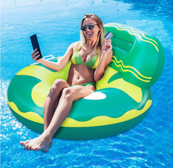Inflatable Swimming Pool Floats for Adults Kids Floating Pool Chair Lounger wit