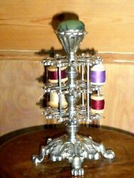 Rare Antique Victorian Silver Plated Pin Cushion And Cotton Reel Display Stand C18