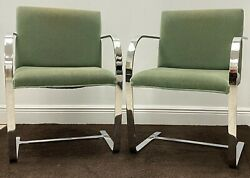 Brno Flat Chairs By Ludwig Mies Van Der Rohe,lot Of 2 Sage Green Velvet