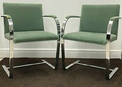 Brno Flat Chairs Padded Frame By Ludwig Mies V.d. Rohe, Pair Of Sage Green