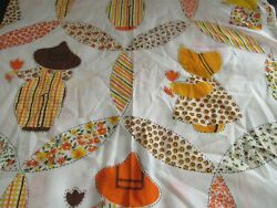VTG Fabric Panel Holly Hobbie Quilting Appliques Cut Sew Yellow Orange 1970#x27;s