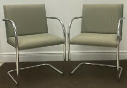 Brno Tubular Chairs By Ludwig Mies V.d. Rohe, Pair Set, Striped Upholstery