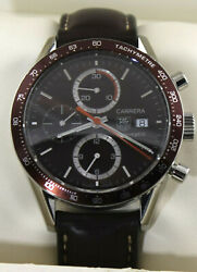Cv2013.fc6206 Tag Heuer Carrera Automatic Chronograph Brown Leather Mens Watch