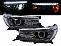 Hilux Revo An120/an130 15-present Led Projector Headlight Chrome For Toyota Lhd