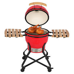 18 Kamado Grill Roaster Smoker Bbq Grill Ceramic Barbecue Grill Outdoor Red