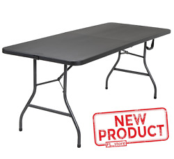 6 Foot Centerfold Folding Table Easy Carry And Clean Black Heavy Duty Moist Proof