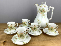 Limoges Coffee Or Teapot Plus 5 Teacups And Saucers Green And Orange Flowers