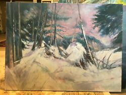 Round Lake Winter Light Green Lakes State Park 36x48 In. Hall Groat Sr.