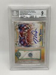 2018 Topps Gypsy Queen Bases Around The League Mike Trout Auto Relic /10 Bgs 9