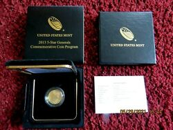 2013 5 Five Dollar 5-star Generals Uncirculated Commem Gold Coin With Box And Coa
