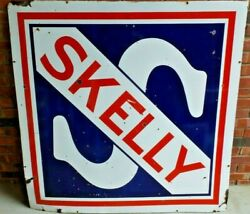 Vintage Original Skelly Oil Company Two-sided 48 Porcelain Sign Good Condition