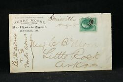Arkansas Lewisville 1870s Henry Moore Real Estate Agent Advertising Cover, Ms