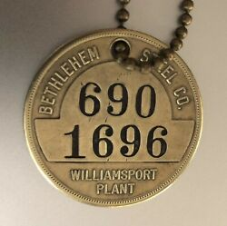 Vintage Time Check Brass Tag Bethlehem Steel Williamsport Pa Wire Rope Plant