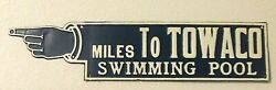 Antique Sign Vintage Pointing Finger Arrow Road Sign Miles To Swimming Pool