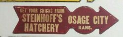 Antique Farm Chicks Sign Old Vintage Pointing Arrow Road Country Chickens Eggs