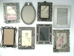 Lot Of 8 Vintage Ornate Picture Frames Table Top Oval 3x5 5x7