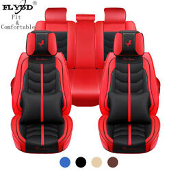 Classic Red Leather Car Seat Cover Protectorcushion Front Rear Full Set Interior