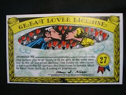 1964 Topps, Nutty Awards 27 Great Lover License - Excellent Condition