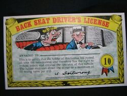 1964 Topps, Nutty Awards 10 Back Seat Driver's License - Excellent Condition