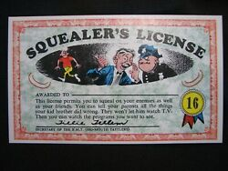 1964 Topps, Nutty Awards, 16 Squealer's License - Excellent Condition