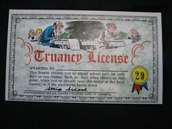 1964 Topps, Nutty Awards 29 Truancy License - Excellent Condition