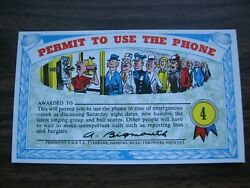 1964 Topps, Nutty Awards 4 Permit To Use The Phone - Excellent Condition