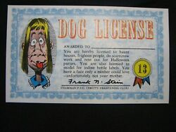 1964 Topps, Nutty Awards, 13 Dog License - Excellent Condition