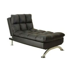 Indoor Chaise Lounge Sofa Bed Black Faux Leather Convertible Daybed