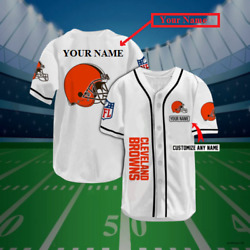Cleveland Browns Personalized Baseball Jersey Custom Name Unisex Size S-4xl Hot