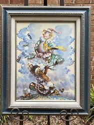 Brenda Polsky Morgan Childs Signed Painting Of Clown, Framed, Amazing Quality