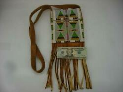 Beaded Native American Crow Sioux Indian Medicine Bag Leather Fringe Cross Body
