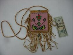 Beaded Native American Crow Indian Medicine Bag Leather Fringe Pink Cross Body