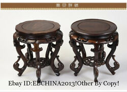 12 China Rosewood Carved Tea Table Flower Pot Rack Fish Tank Base Pair Statue