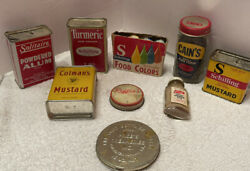 Vintage Schilling Spice Tin Mustard Food Color Cains French's Glass Jar A Lot