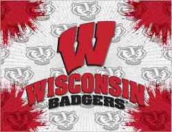 Wisconsin Badgers Hbs Gray Red W Wall Canvas Art Picture Print