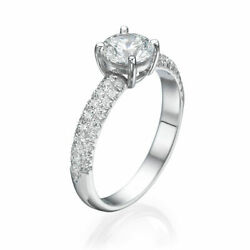 Real 14k White Gold Round Cut Diamond Engagement Ring 2.52 Ct F/si2-i1