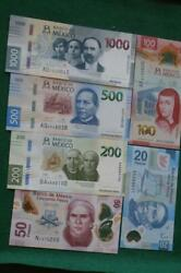Lot Of 6 Mexican 2050100 200 500 And 1000 Unc Pesos Bills Currency Current