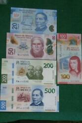 Lot Of 5 Mexican 2050100 200 And 500 Unc Pesos Bills Currency Current