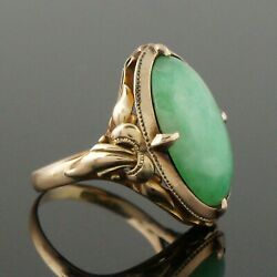 Solid 14k Yellow Gold And Apple Green Jade Cabochon, Estate Ring