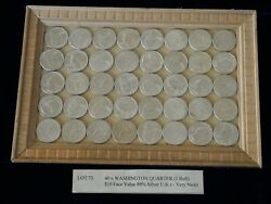 Silver Quarters 40 1 Roll Washington 10 Face Value Very Nice [lot 73]