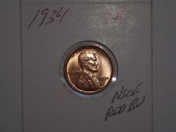 Wheat Penny 1934 Sharp Red Bu 1934-p Lot 1 Lincoln Cent Great Unc Red Luster