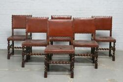 6 Solid Oak Carved Antique French Dining Chairs With Leather Seats - 2026